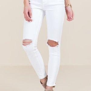 Harper White Mid-rise Knee Slit Skinny Jeans
